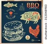 delicious juicy burger. sketch... | Shutterstock .eps vector #312048983
