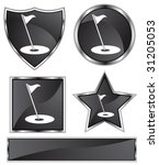 golf icon set   black satin and ... | Shutterstock . vector #31205053