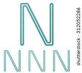 teal line n logo design set