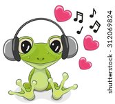 Stock vector cute cartoon frog with headphones and hearts 312069824