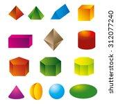3d geometric shapes vector  | Shutterstock .eps vector #312077240