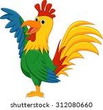 cute rooster cartoon presenting | Shutterstock . vector #312080660