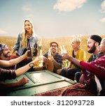 diverse people friends hanging... | Shutterstock . vector #312093728