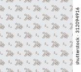 seamless monochrome floral... | Shutterstock .eps vector #312094916