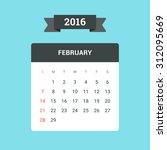 february calendar 2016. vector... | Shutterstock .eps vector #312095669