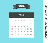 april calendar 2016. vector... | Shutterstock .eps vector #312095684
