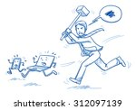 furious business man chasing... | Shutterstock .eps vector #312097139