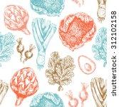 organic food seamless pattern.... | Shutterstock .eps vector #312102158