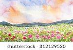 Pink Flower Field Landscape...