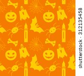 halloween seamless pattern with ... | Shutterstock .eps vector #312135458