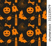 halloween seamless pattern with ... | Shutterstock .eps vector #312135479
