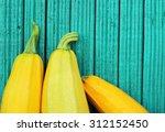 Yellow Zucchini On Turquoise...