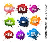 colorful vector splashes set.... | Shutterstock .eps vector #312170669