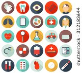 set of flat medical icons.... | Shutterstock . vector #312183644