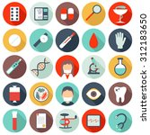 set of flat medical icons.... | Shutterstock . vector #312183650