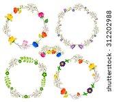 set round flower frames | Shutterstock . vector #312202988