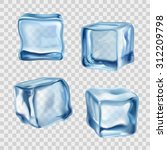 Realistic Blue Solid Ice Cubes...