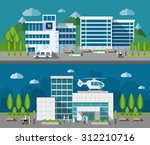 hospital buildings front flat... | Shutterstock .eps vector #312210716