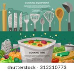cooking equipment and time... | Shutterstock .eps vector #312210773