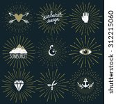 vector set of retro sunburst... | Shutterstock .eps vector #312215060