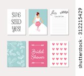 bridal set of cards for wedding ... | Shutterstock .eps vector #312215429