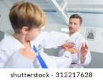 little boy learning a martial... | Shutterstock . vector #312217628