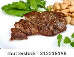 roasted beef steak with dill ... | Shutterstock . vector #312218198