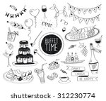 buffet party doodle set. hand... | Shutterstock .eps vector #312230774