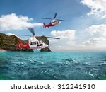 Two Red Rescue Helicopter...