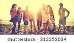 diverse beach summer friends... | Shutterstock . vector #312253034