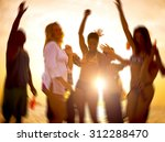 people celebration beach party... | Shutterstock . vector #312288470