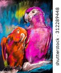 original pastel painting of two ... | Shutterstock . vector #312289448