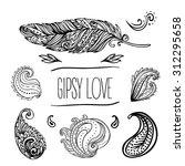 gypsy love  set of ornamental...   Shutterstock .eps vector #312295658