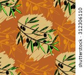 olive seamless pattern. hand... | Shutterstock .eps vector #312306110