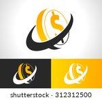 silhouette of dollar coin logo... | Shutterstock .eps vector #312312500