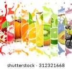 rainbow colorful fruit stripe... | Shutterstock . vector #312321668