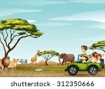 roadtrip in the field full of... | Shutterstock .eps vector #312350666