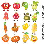fruit and vegetables with face... | Shutterstock .eps vector #312350684