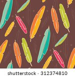 bohemian colorful feathers ... | Shutterstock .eps vector #312374810