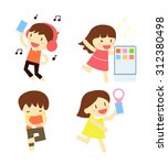group of people and mobile... | Shutterstock .eps vector #312380498