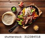 top down photo of mexican steak ...   Shutterstock . vector #312384518