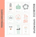 cute vector cards  notes ... | Shutterstock .eps vector #312385508