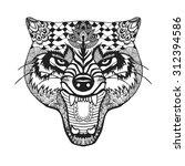 zentangle stylized roaring wolf.... | Shutterstock .eps vector #312394586