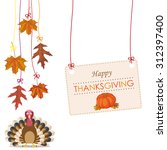 hanging foliage with banner ... | Shutterstock .eps vector #312397400