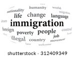 immigration word cloud | Shutterstock . vector #312409349