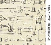 set of needlework   scissors ... | Shutterstock .eps vector #312427088