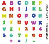 doodle alphabet and numbers | Shutterstock .eps vector #312431900