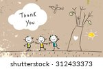 thank you card with happy kids... | Shutterstock .eps vector #312433373