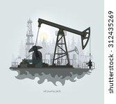 pumpjack in the background of... | Shutterstock .eps vector #312435269