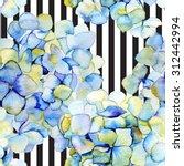 hydrangea on the striped... | Shutterstock . vector #312442994